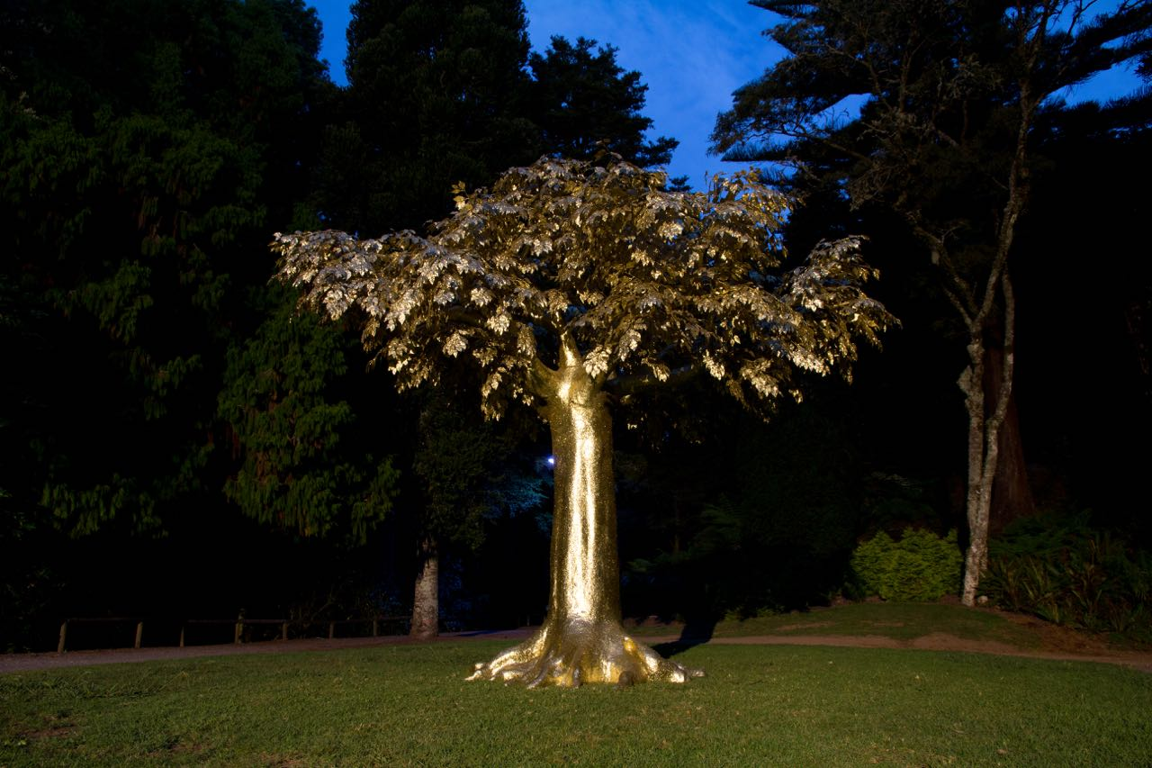 Reuben Paterson's 'The Golden Bearing' installed at the Rhododendron Dell