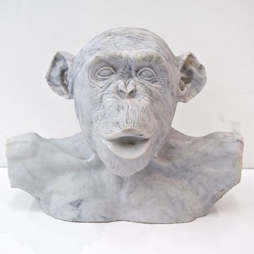 Marble Chimp Bust No.6