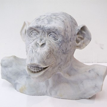 Marble Chimp Bust No.5