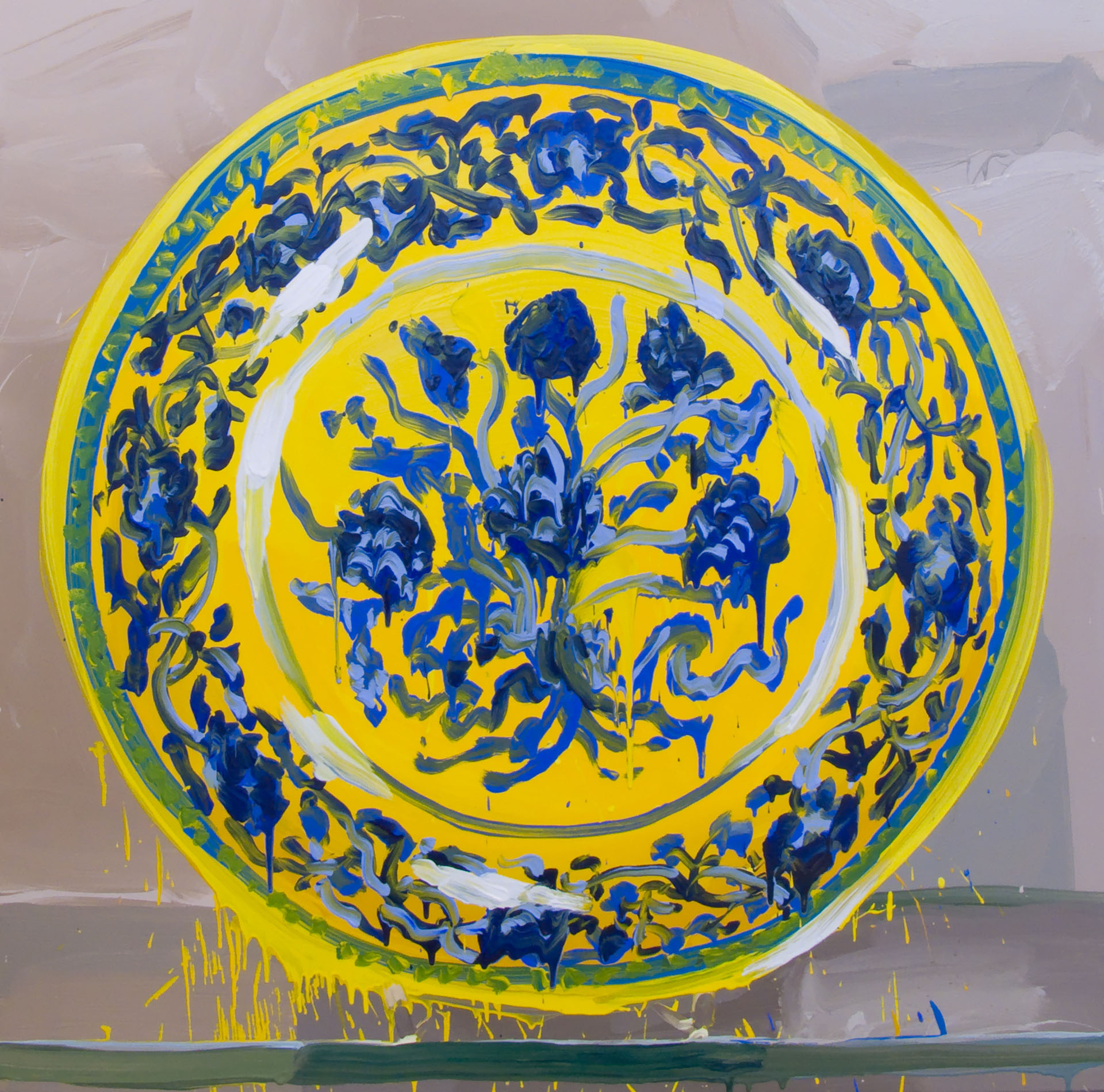 V&A, Chinese Yellow, Blue Flowers