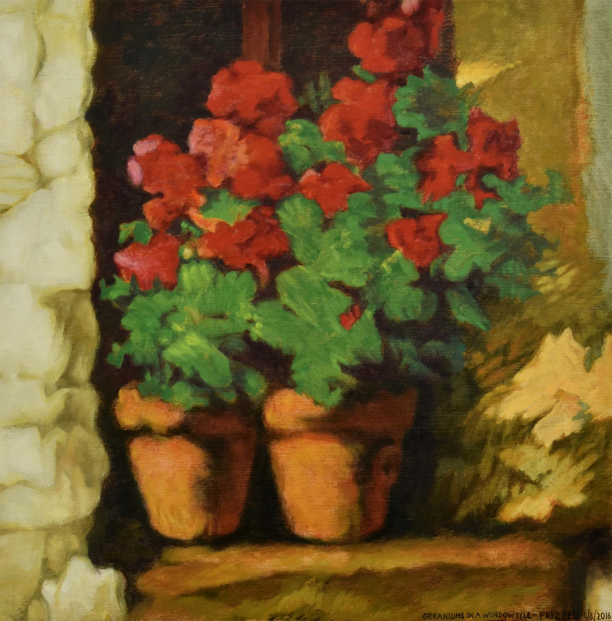 Geraniums on a Window Sill