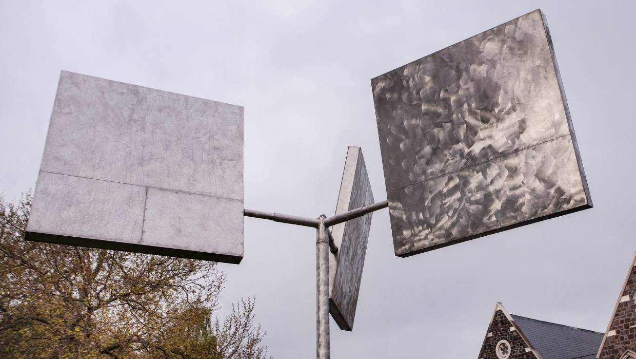 George Rickey's Three Squares Gyratory, Variation 2 a 'must see' in Christchurch this January